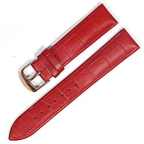 LIANYG Correa De Reloj Banda de Reloj Correas de Cuero Genuino Relojes 12 mm 18 mm 20 mm 22mm de Reloj Accesorios 493 (Band Color : Red Rose Gold, Band Width : 14mm)