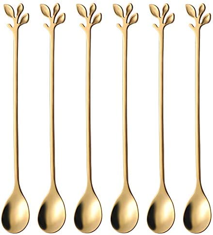 Long Handle Iced Tea Spoons set AnSaw 6 Pcs 7 4 Ice Cream Spoon Creative Gold Leaf Cocktail product image