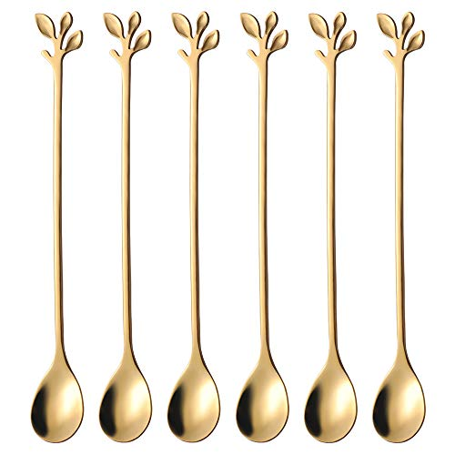 Long Handle Iced Tea Spoons set AnSaw 6 Pcs 74quot Ice Cream Spoon Creative Gold Leaf Cocktail Stirring Spoons Premium Food Grade Stainless Steel Mirror Finish amp Dishwasher Safe Gold 6