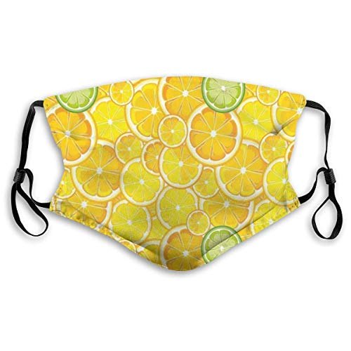 Comfortable Windproof Mask,Lemon Orange Lime Fruit Citrus Round Cut Circles Big And Small Pattern,Printed Facial Decorations For Unisex