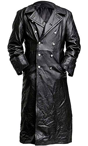 German ClassicWW2 Military Officer Black Leather Trench Coat