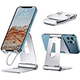 Adjustable Cell Phone Holder Fully Foldable Swivel Phone Stand Cradle Dock Portable Anti-Skid Tablet Stand Rotatable Multi-Angle Bed and Desk Phone Holder Stand for 4-13 Inch Smartphone and Tablets