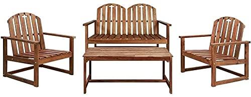 IOUYRRN Conjunto de sofá de jardín de Madera de Acacia sólido Juego de Silla Exterior de 4 Piezas Mesa de Banco