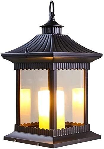 UimimiU Columna luz Vintage al Aire Libre e14 Impermeable jardín Linterna Exterior Vela Pilar luz Metal Vidrio imitación mármol Columna lámpara IP65 Impermeable Parque Paisaje Piso iluminación