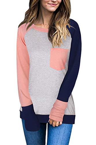 Mujeres Casual Camiseta Otoño Manga Larga Colorblock Bolsillos Top tee Rosa S