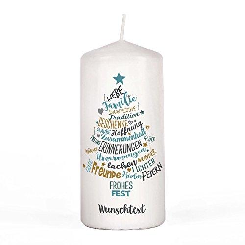 Herz & Heim® Kerze zum Advent - Weihnachtswünsche - mit Wunschtext unter dem Motiv