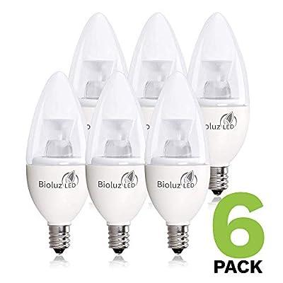 Bioluz LED 5W Dimmable Candelabra LED Bulbs C37 E12 (40W Equivalent) UL Listed, 350 lumens, 120° Beam Angle, 3000K Soft White LED Candle Bulbs