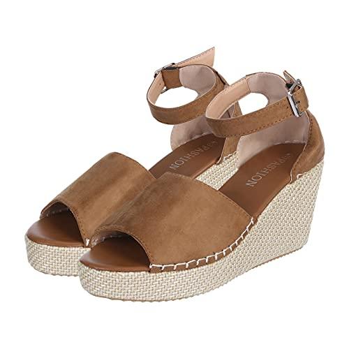 2019 Zapatos Peep-Toe Mujer, Sandalias De Talla Grande Con Plataforma Cuña Alpargatas Sandalias De Vestir De Boda Fiesta Calzado Bailarinas Zapatillas Con Hebillas (Brown, 37)