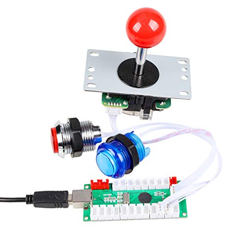EG Starts 4 Player Classic DIY Arcade Joystick Kit Parts USB Encoder To PC Controls Games + 4/8 Way Stick + 5V led Illuminated Push Buttons Compatible Video Game Consoles Mame Raspberry Pi & 4 Colors