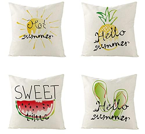 KaiXINSun Throw Pillow Fundas Paquete De 4 Funda De Almohada De 18X18 Pulgadas Funda Decorativa De Sofá De Casa Cuadrada Cremallera Invisible Patrón De Frutas 45X45Cm