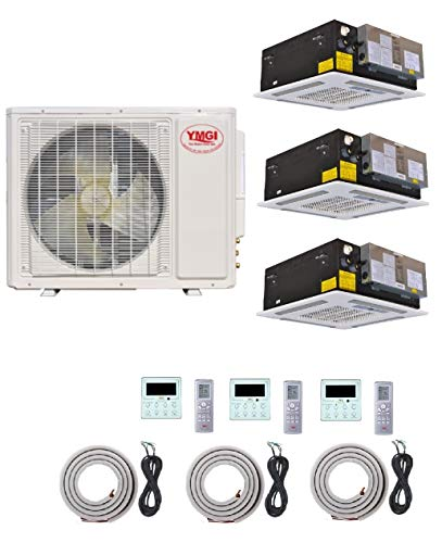 YMGI Tri Zone - 36000 BTU (12K+12K+12K) Ceiling Mounted Ductless Mini Split Air Conditioner with Heat Pump for Home, Office, Apartment with 25 Ft Lineset Installation Kits