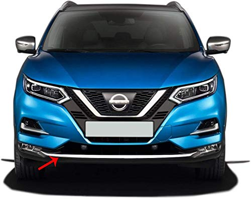 Per Nissan QASHQAI J11 Acciaio Inox CROMO Paraurti Anteriore Streamer 1 Pezzi (2017+)