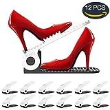 Soporte de Calzado, Organizadores de Zapatos, Soporte Ajustable de Zapatos, de PP Durable, para Ahorro de Espacio, Ayudante de Almacenamiento de Zapatos, de 4 Niveles Ajustable de Altura (12 Pcs)