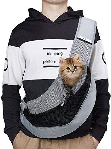 Pecco Tragetuch Hund, Tragetasche Hund Katze Haustier Hand Schleuderträger Schultertasche Verstellbare Gepolsterte Schultergurt mit Fronttasche hundetragebeutel Metro Outdoor unter 6kg