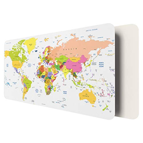 """World Desk Mat, 31.5"""" x 15.7"""" YSAGi Ultra Thin Waterproof PU Leather Mouse Pad, Ideal for Desk Cover, Computer Keyboard, PC and Laptop - World Map"""