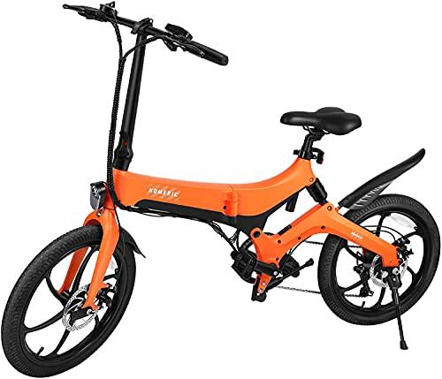HOMERIC Bicicleta eléctrica plegable plegable de 20 pulgadas para adultos, 250 W con batería extraíble de 36 V y 7,8 Ah, 7 velocidades, bicicleta plegable (PAS-Bike, sin válvula de acelerador)