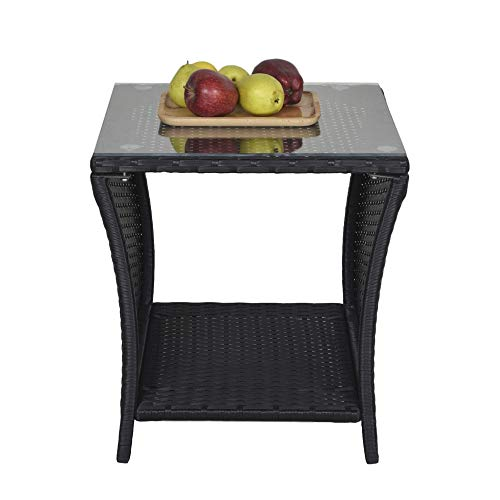 SUNVIVI OUTDOOR Patio Wicker Side Table, Small End Coffee Table for Outdoor