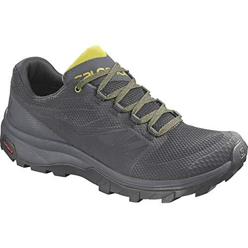 SALOMON Herren Wander Trekking Outdoor Schuhe Outline Gore Tex GTX L409, Größe:41 1/3 EU, Farbe:Black/Ebony/Citronelle - Schwarz Grau Gelb