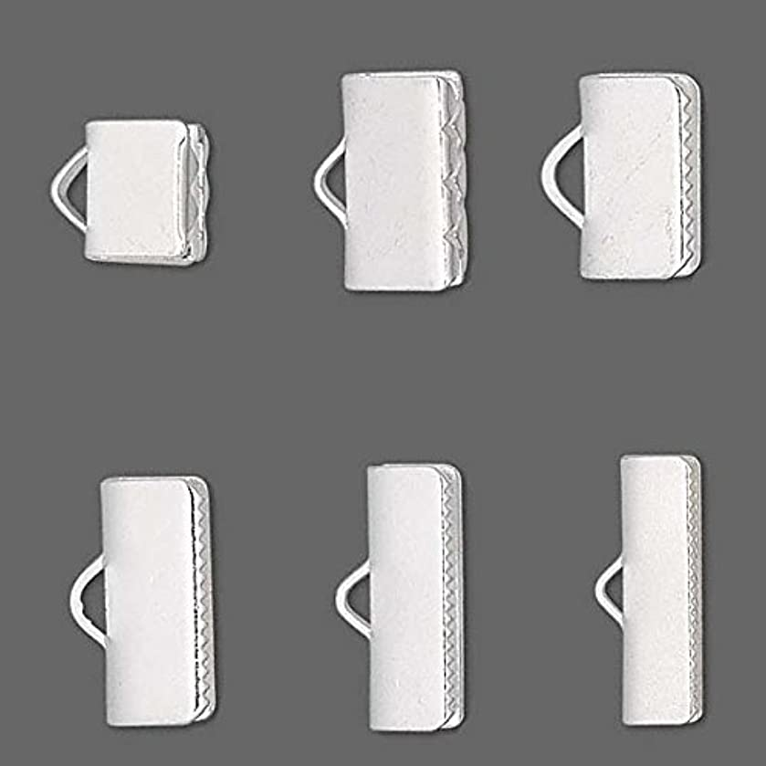 10 Smooth Silver Plated Crimp End Findings with Teeth For Flat Leather & Ribbon (3/4 inch (19mm))