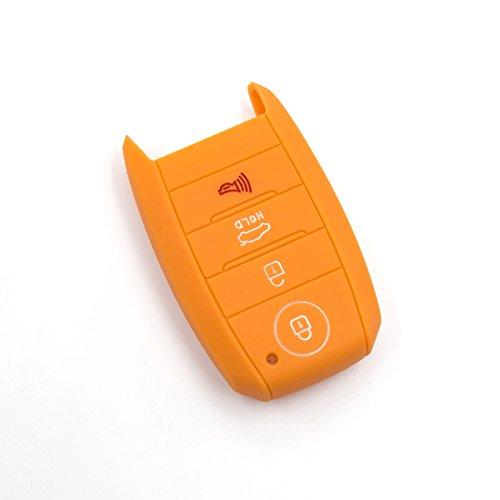 LIGHTKOREA 4 Button Silicone Smart Key Case Cover 1Pcs for Kia Soul Carnival Sedona NIRO Sorento Sportage Rio Forte Optima Cerato Koup (Orange)