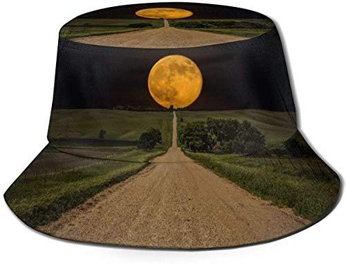 Sombrero de Cubo de Viaje de Elefante de Piedra Unisex Gorra de Pescador de Verano Sombrero de Sol-Fondo de Paisaje de Luna