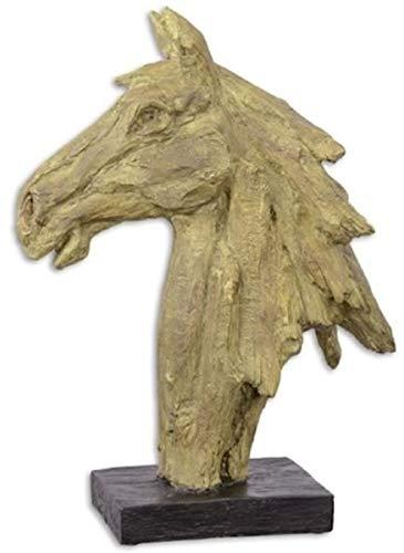 Casa Padrino Escultura Decorativa de Resina sintética Cabeza de Caballo Beige/Negro 16 x 37,1 x A. 49,6 cm - Figura Decorativa - Decoración de Escritorio