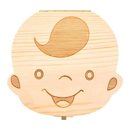 AYRSJCL 1Pc Baby-Zähne Box speichern Holzkisten Erste Haircut Aufbewahrungs Zahnfee Box Personalisierte Zahnhalter für Boy