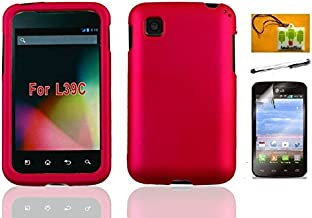 Lf 4 in 1 Bundle - Pink Hard Case Cover, Stylus Pen, Screen Protector & Wiper For (Net 10 / Tracfone / Straight Talk) LG Optimus Dynamic II L39C (Hard Pink)