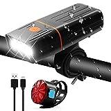 VILIMO Luce Biciclette LED Fanali Anteriore e Posteriori Ricaricabili USB, TK3 2400 mAh Su...
