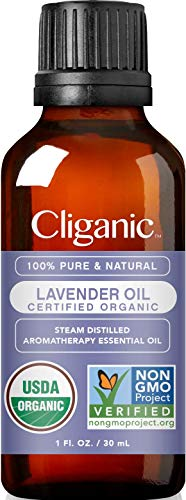 Cliganic USDA Organic Lavender Essential Oil, 1oz - 100% Pure Natural Undiluted, for Aromatherapy Diffuser | Non-GMO Verified