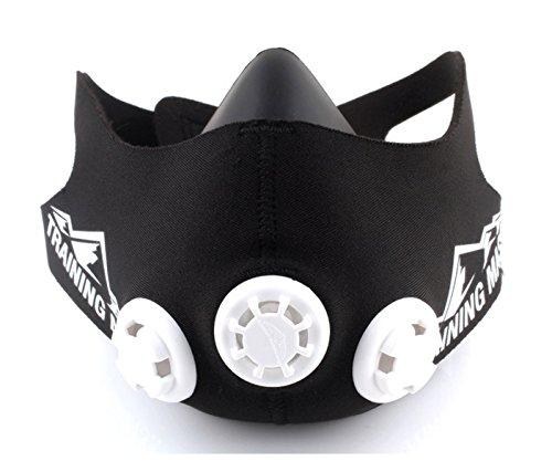 TRAININGMASK Trainingsmaske 2.0 Fitness-Maske | Workout-Maske | Max. Atemwiderstand – Fitness-Maske | Training in hoher Höhensimulation – Erhöhen Sie die Ausdauer des Cardios (Schwarz & Weiß, M)