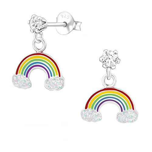 GH1a Regenbogen Kristall mit Glitzer Ohrstecker 925 Echt Silber Ohrringe Mädchen Kinder Ohrhänger