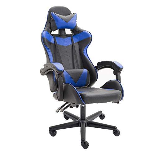 HFJKD Gaming Chair Reclinable Leather Office Chair Racing Set Bequemer und einfacher PC Ergonomischer Sitzstuhl für die Arbeit in Spielen 125-133x70cm Azul