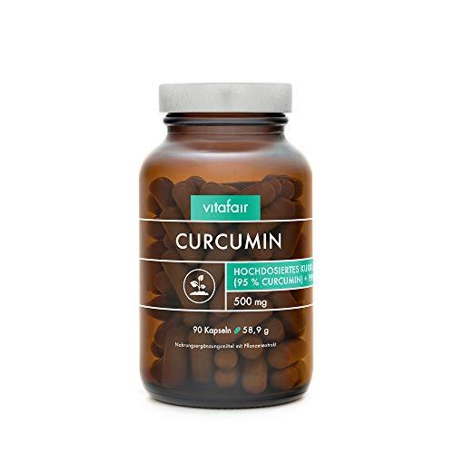 VITAFAIR Curcuma Extrakt (1000mg hochdosiert pro Tag), German Quality - 90 Kurkuma Kapseln mit 95{493dd983075f7c035ee02521dec8e9d48fde7a9f3abfa0be5c673ba9fd880e18} = 950mg (BCM95) pro Tagesdosis, Curcumin & Piperin, Kurkumin Kapseln vegan & ohne Magnesiumstearat