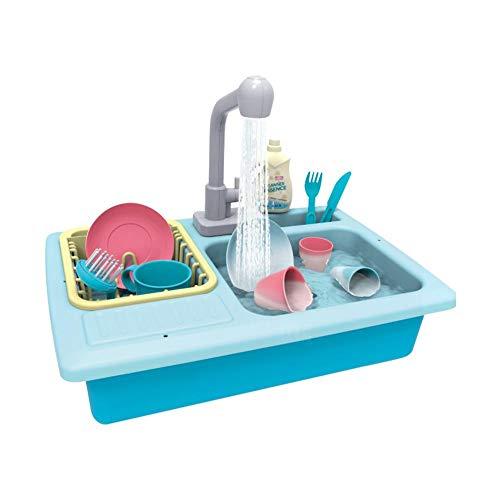 Spüle mit Wasser für Kinder Küchenspüle Spielset Wärmeempfindlicher elektrischer Geschirrspüler Spielzeug spielen Rollenspielspielzeug für Jungen Mädchen