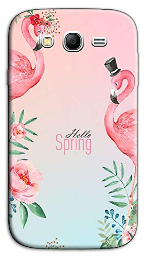 Mixroom - Cover Custodia Case in TPU Silicone Morbida per Samsung Galaxy Grand Neo I9060i (Plus) Fantasia Hello Spring e Fenicotteri N1012