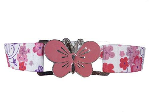 Olata Cintura Elasticizzata per Bambina 1-11 Anni, Grande Fibbia - Fiore Rosa/Farfalla Rosa