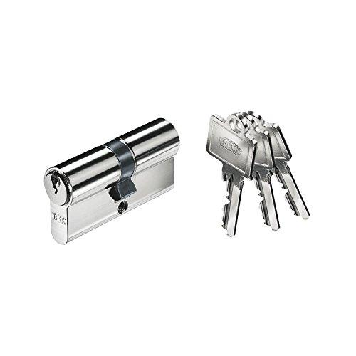 BKS B-00093-00-0-1 hochwertiger, Profil, Schließzylinder 40/55mm, Messing vernickelt matt, mit 3 Schlüssel und Befestigungsschraube, 40/55