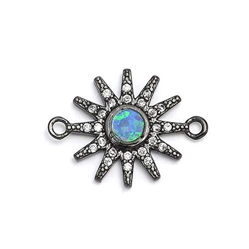 FUKAI Fashion Blue Fire Opal Charm Copper Micro Pavé Zircon Sun Charm Connector For Bracelet Jewelry Making (Color : Black)