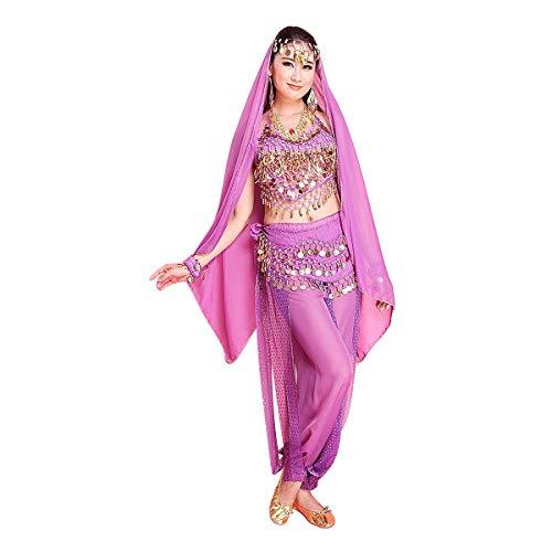 MINLIDAY Danza del Ventre in Chiffon, 7 Prezzi Set di Costume Travestimento Donna Ragazza per Danza Indiana per Carnevale, Halloween, Cosplay, Viola