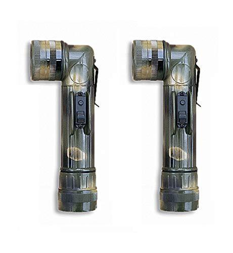Pack 2 Linternas codo tactica camuflaje. Tipo militar. 4 lentes intercambiables. 3 posiciones de luz y destellos. Bombillas repuesto y 4 pilas C incluidas.