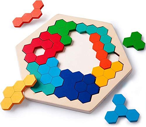Rolimate Holzpuzzle Hölzernes Sechseck Puzzle für Kinder, Form Block Tangram Denkaufgabe Spielzeug Geometrie Logik IQ Spiel Montessori Entwicklungs Pädagogisches Geschenk alle Altersgruppen 14 Piece