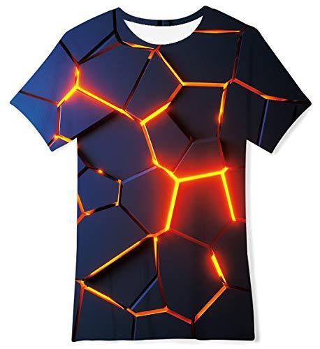 TUONROAD Jungen Mädchen Kurzarm T-Shirt Kinder 3D Bunte Löwe Drache Lustiges T-Shirt 9-12 Jahre