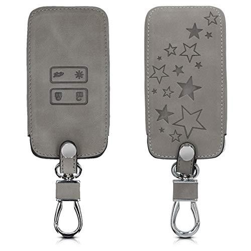 kwmobile Autoschlüssel Hülle kompatibel mit Renault 4-Tasten Smartkey Autoschlüssel (nur Keyless Go) - Kunstleder Schutzhülle Schlüsselhülle Cover Sternenmix Grau