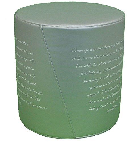 Pouf Poesia C'era Una Volta. Gris avec inscription blanche en simili cuir avec impression haute tenue, dimensions : 46 x 49 cm, déhoussable