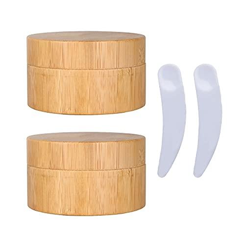 TIANZD 2 Pieza 50ml Envases Cosmética Bambú 50g Tarro deCosmética de Bambú con PP Plástico Interior Pote de Crema de Bambú para Cremas Hidratantes Loción Ungüento