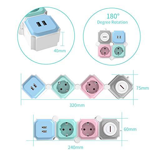 UCOMEN Power Strip, 2 Fach Steckdosenleiste, Steckdose mit 2 USB, Tischsteckdose mit Schalter, Mehrfachsteckdose mit überspannschutz, 3680W, Verformbar Würfel, Mehrfarbig