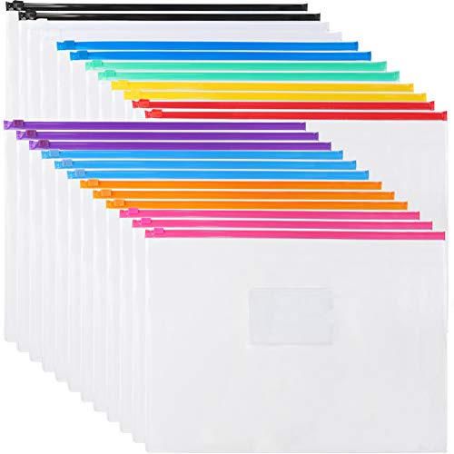 EOOUT 16Pcs Clear Poly Zip Envelope Plastic Organizer Envelope, 7 Colors File Folder Document Bags, Letter Size A4 Size, for School Office