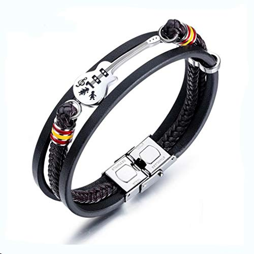 TIZIKJ Men es Woven Leder Armband Gitarre Titanium Steel Unique Design Fashion Bangle Jewelry Black for Wedding Party Daily