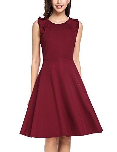 elegant sommer damen partykleid ärmellos A Linie Knielang festlich kleid sommerkleider freizeit kleider weinrot s